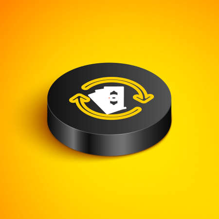 Isometric line Refund money icon isolated on yellow background. Financial services, cash back concept, money refund, return on investment, savings account. Black circle button. Vector