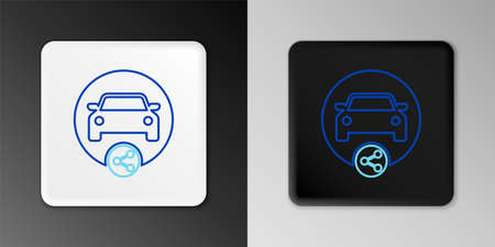 Line Car sharing icon isolated on grey background. Carsharing sign. Transport renting service concept. Colorful outline concept. Vector 일러스트
