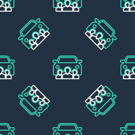 Line Car sharing with group of people icon isolated seamless pattern on black background. Carsharing sign. Transport renting service concept. Vector