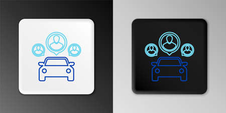 Line Car sharing with group of people icon isolated on grey background. Carsharing sign. Transport renting service concept. Colorful outline concept. Vector