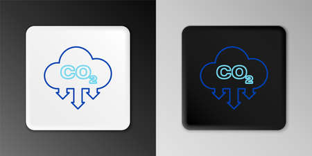 Line CO2 emissions in cloud icon isolated on grey background. Carbon dioxide formula symbol, smog pollution concept, environment concept. Colorful outline concept. Vector 일러스트