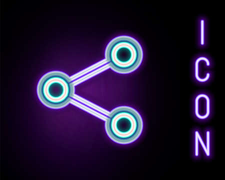 Glowing neon line Share icon isolated on black background. Share, sharing, communication pictogram, social media, connection, network, distribute sign. Colorful outline concept. Vector 일러스트