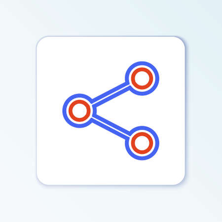 Line Share icon isolated on white background. Share, sharing, communication pictogram, social media, connection, network, distribute sign. Colorful outline concept. Vector 일러스트