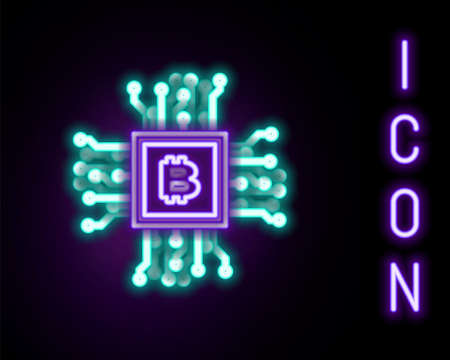 Glowing neon line Processor icon isolated on black background. CPU, central processing unit, microchip, microcircuit, computer processor, chip. Colorful outline concept. Vector 일러스트