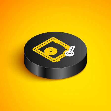 Isometric line Proof of stake icon isolated on yellow background. Cryptocurrency economy and finance collection. Black circle button. Vector