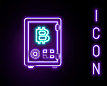Glowing neon line Proof of stake icon isolated on black background. Cryptocurrency economy and finance collection. Colorful outline concept. Vector