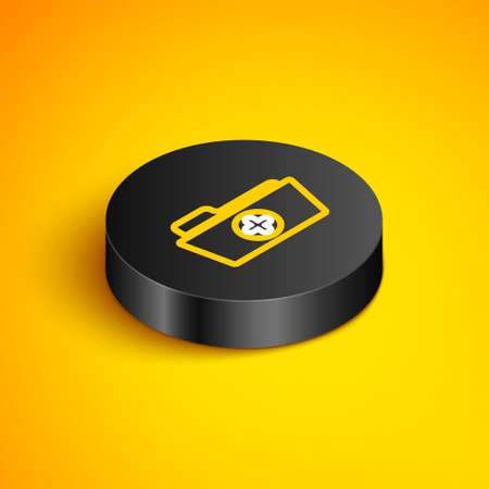 Isometric line Medical health record folder for healthcare icon isolated on yellow background. Patient file icon. Medical history symbol. Black circle button. Vector  イラスト・ベクター素材