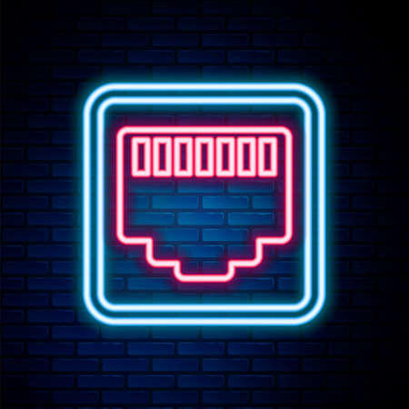 Glowing neon line Network port - cable socket icon isolated on brick wall background. LAN,  port sign. Local area connector icon. Colorful outline concept. Vector