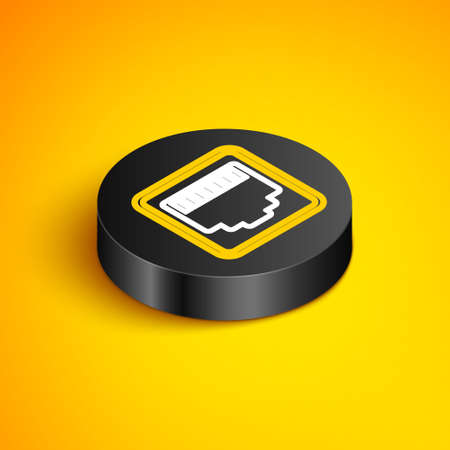 Isometric line Network port - cable socket icon isolated on yellow background. LAN,   port sign. Local area connector icon. Black circle button. Vector Illustration