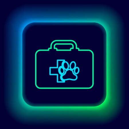 Glowing neon line Pet first aid kit icon isolated on black background. Dog or cat paw print. Clinic box. Colorful outline concept. Vector Ilustrace