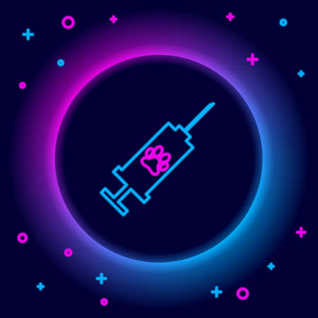 Glowing neon line Syringe with pet vaccine icon isolated on black background. Dog or cat paw print. Colorful outline concept. Vector Ilustrace