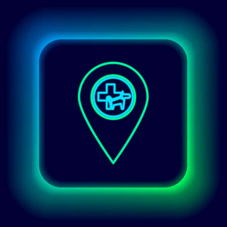 Glowing neon line Map pointer with veterinary medicine hospital, clinic or pet shop for animals icon isolated on black background. Vet or veterinarian clinic. Colorful outline concept. Vector Ilustrace