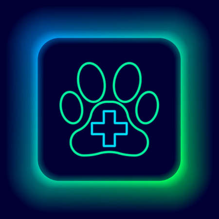Glowing neon line Veterinary clinic symbol icon isolated on black background. Cross hospital sign. A stylized paw print dog or cat. Pet First Aid sign. Colorful outline concept. Vector