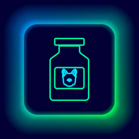Glowing neon line Dog medicine bottle icon isolated on black background. Container with pills. Prescription medicine for animal. Colorful outline concept. Vector
