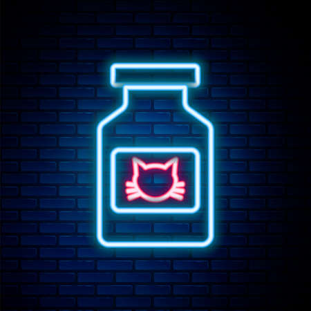 Glowing neon line Cat medicine bottle icon isolated on brick wall background. Container with pills. Prescription medicine for animal. Colorful outline concept. Vector Ilustrace