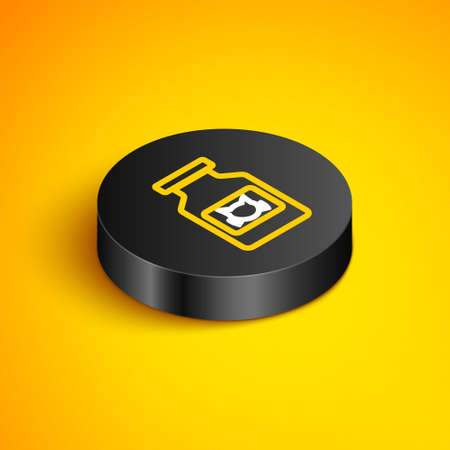 Isometric line Cat medicine bottle icon isolated on yellow background. Container with pills. Prescription medicine for animal. Black circle button. Vector Ilustrace