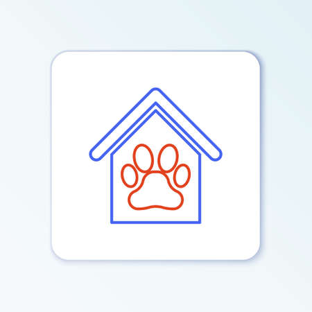 Line Dog house and paw print pet icon isolated on white background. Dog kennel. Colorful outline concept. Vector