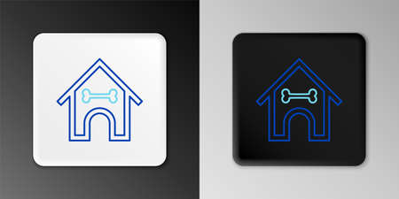 Line Dog house and bone icon isolated on grey background. Dog kennel. Colorful outline concept. Vector