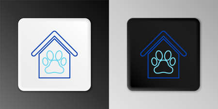 Line Dog house and paw print pet icon isolated on grey background. Dog kennel. Colorful outline concept. Vector Çizim