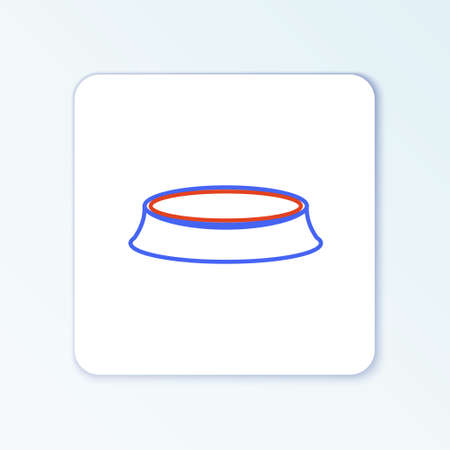 Line Pet food bowl for cat or dog icon isolated on white background. Colorful outline concept. Vector Çizim