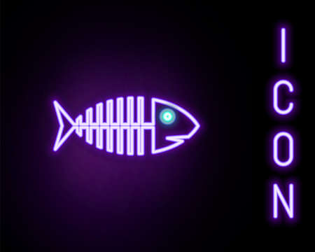 Glowing neon line Fish skeleton icon isolated on black background. Fish bone sign. Colorful outline concept. Vector