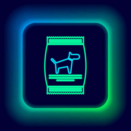 Glowing neon line Bag of food for dog icon isolated on black background. Food for animals. Pet food package. Colorful outline concept. Vector