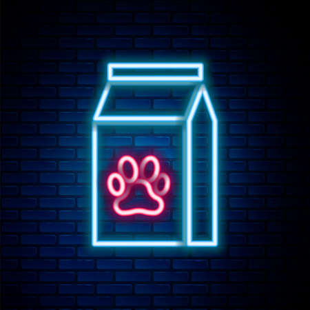 Glowing neon line Bag of food for pet icon isolated on brick wall background. Food for animals. Pet food package. Dog or cat paw print. Colorful outline concept. Vector
