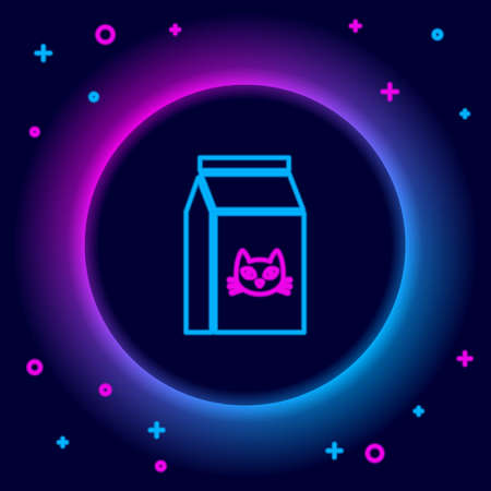 Glowing neon line Bag of food for cat icon isolated on black background. Food for animals. Pet food package. Colorful outline concept. Vector Illustration