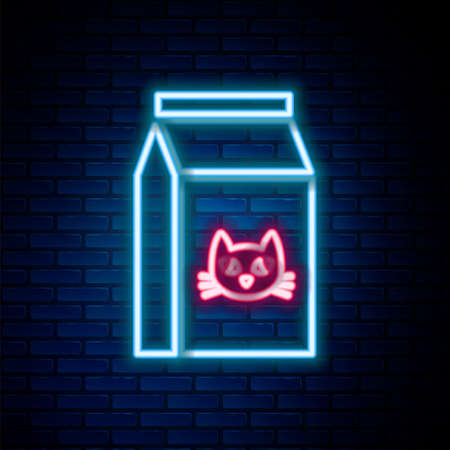 Glowing neon line Bag of food for cat icon isolated on brick wall background. Food for animals. Pet food package. Colorful outline concept. Vector