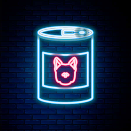 Glowing neon line Canned food for dog icon isolated on brick wall background. Food for animals. Pet dog food can. Colorful outline concept. Vector