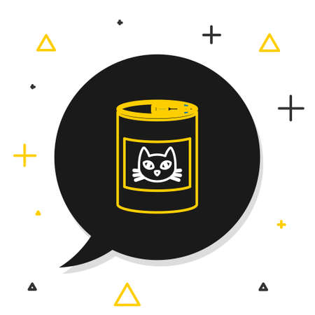 Line Canned food for cat icon isolated on white background. Food for animals. Pet dog food can. Colorful outline concept. Vector