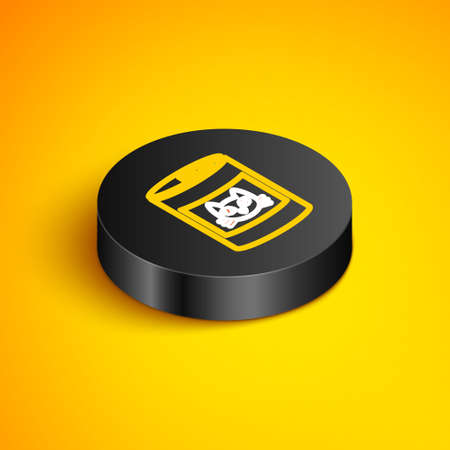 Isometric line Canned food for cat icon isolated on yellow background. Food for animals. Pet dog food can. Black circle button. Vector