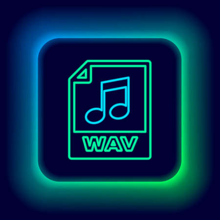Glowing neon line WAV file document. Download wav button icon isolated on black background. WAV waveform audio file format for digital audio riff files. Colorful outline concept. Vector Illustration