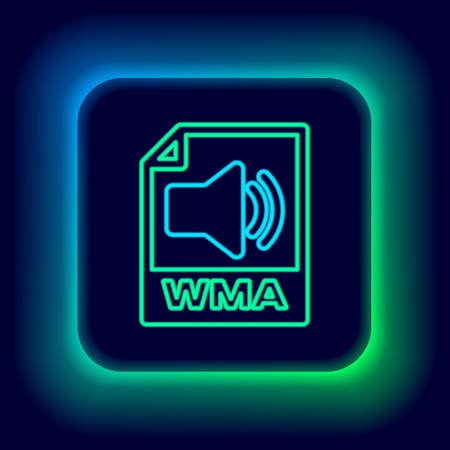 Glowing neon line WMA file document. Download wma button icon isolated on black background. WMA file symbol. Wma music format sign. Colorful outline concept. Vector