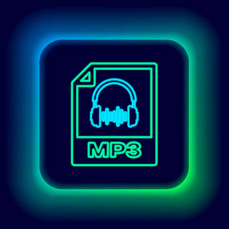 Glowing neon line MP3 file document. Download mp3 button icon isolated on black background. Mp3 music format sign. MP3 file symbol. Colorful outline concept. Vector