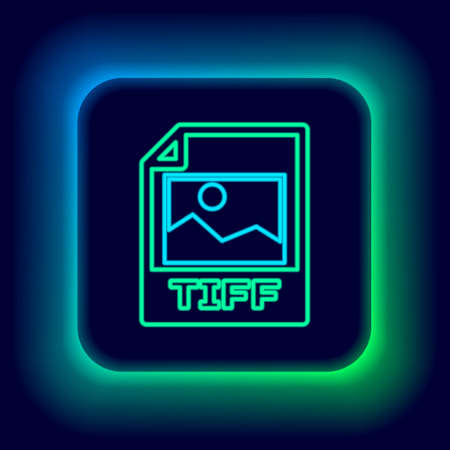 Glowing neon line TIFF file document. Download tiff button icon isolated on black background. TIFF file symbol. Colorful outline concept. Vector