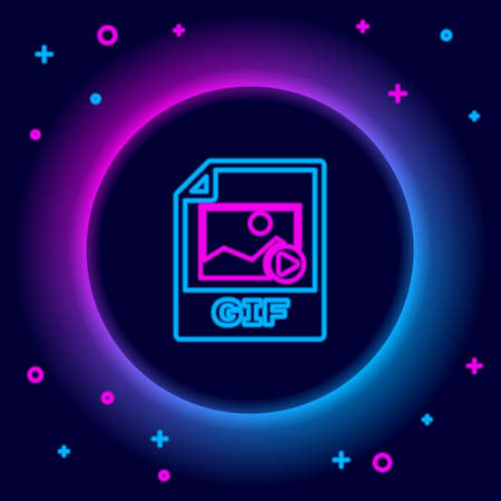 Glowing neon line GIF file document. Download gif button icon isolated on black background. GIF file symbol. Colorful outline concept. Vector 일러스트