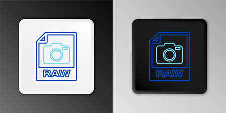 Line RAW file document. Download raw button icon isolated on grey background. RAW file symbol. Colorful outline concept. Vector