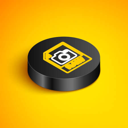 Isometric line RAW file document. Download raw button icon isolated on yellow background. RAW file symbol. Black circle button. Vector