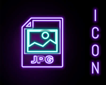 Glowing neon line JPG file document. Download image button icon isolated on black background. JPG file symbol. Colorful outline concept. Vector 일러스트