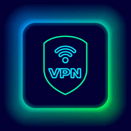 Glowing neon line Shield with VPN and wifi wireless internet network symbol icon isolated on black background. VPN protect safety concept. Colorful outline concept. Vector