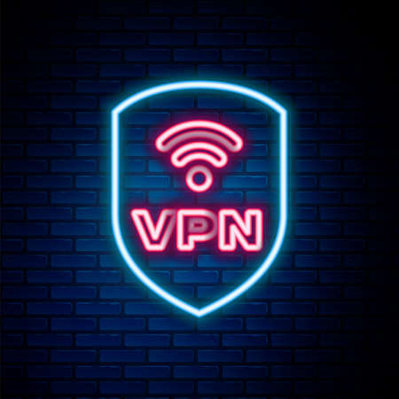 Glowing neon line Shield with VPN and wifi wireless internet network symbol icon isolated on brick wall background. VPN protect safety concept. Colorful outline concept. Vector 일러스트