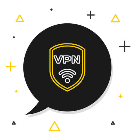 Line Shield with VPN and wifi wireless internet network symbol icon isolated on white background. VPN protect safety concept. Colorful outline concept. Vector