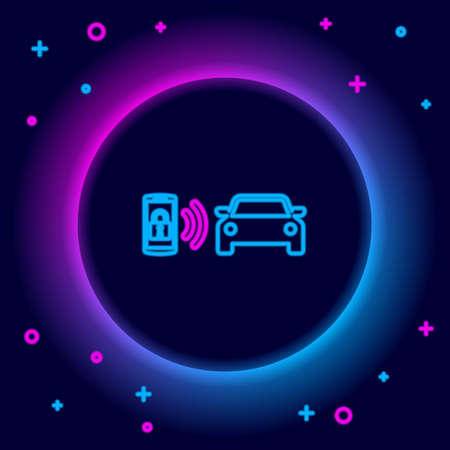 Glowing neon line Smart car alarm system icon isolated on black background. The smartphone controls the car security on the wireless. Colorful outline concept. Vector 일러스트