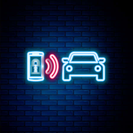 Glowing neon line Smart car alarm system icon isolated on brick wall background. The smartphone controls the car security on the wireless. Colorful outline concept. Vector