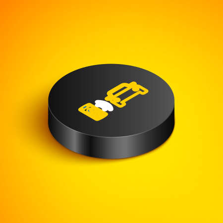 Isometric line Smart car alarm system icon isolated on yellow background. The smartphone controls the car security on the wireless. Black circle button. Vector