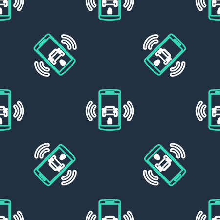 Line Smart car alarm system icon isolated seamless pattern on black background. The smartphone controls the car security on the wireless. Vector