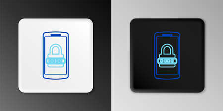 Line Mobile phone and password protection icon isolated on grey background. Security, safety, personal access, user authorization, privacy. Colorful outline concept. Vector