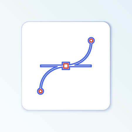 Line Bezier curve icon isolated on white background. Pen tool icon. Colorful outline concept. Vector Çizim
