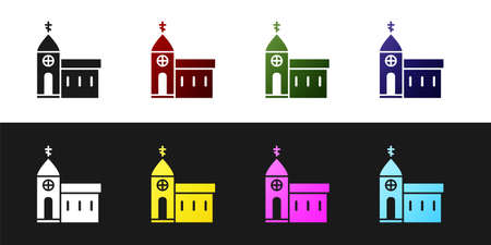 Set Church building icon isolated on black and white background. Christian Church. Religion of church. Vector Illustration 일러스트